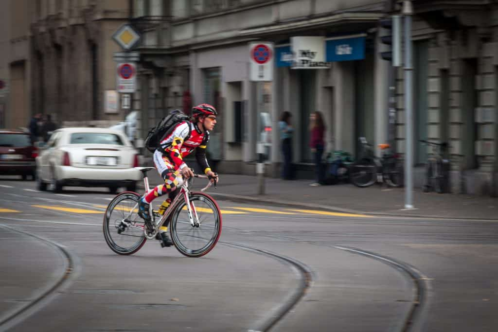 Sportsman on road bicycle in Zurich 1